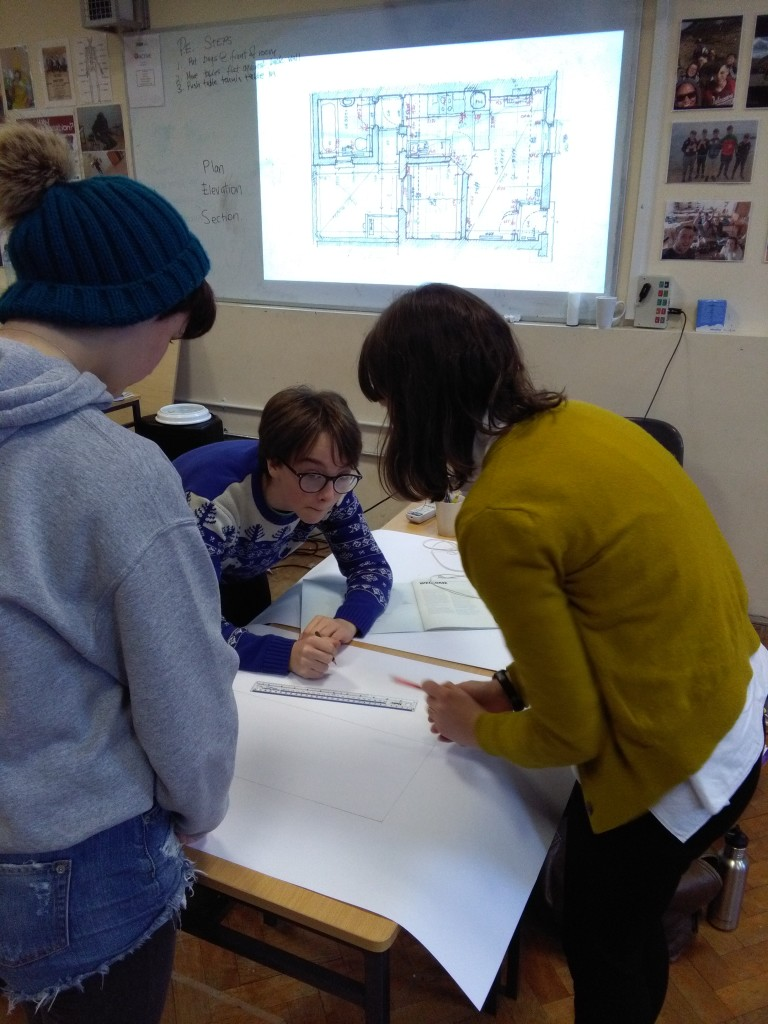 Students working with architect Gillian Brady