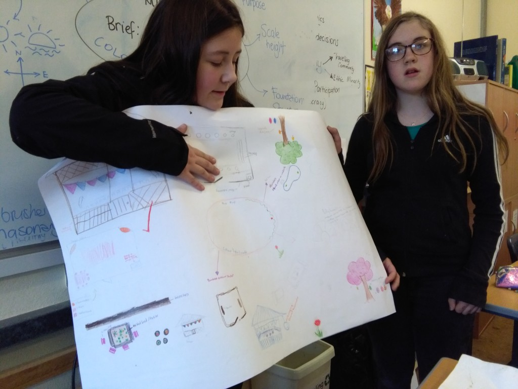 Students presenting first design ideas for their 'outdoor classroom'